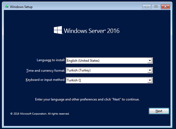 Windows Server 2016 Kurulumu