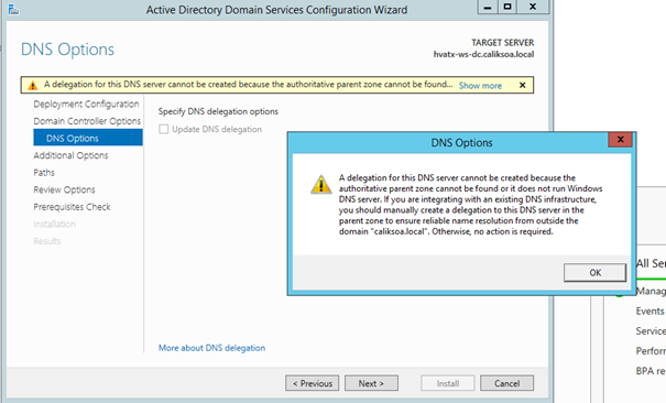 A delegation for this DNS Server cannot be created because