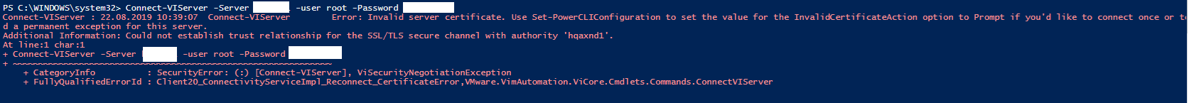 PowerCLI Invalid server certificate Hatası